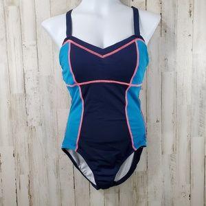 Nike Womens Swimsuit 8 Blue V Neck Built in Bra